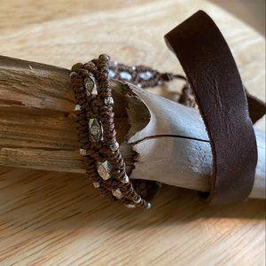 Jewelry - Brown Leather Bracelet & Strap Bracelet Set of (2)